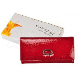 lucido Portafoglio Cavaldi Rosso Donna Portamonete in vera pelle 12 Carte Tessere