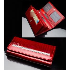 lucido Portafoglio LOREN con strass rosso Donna Portamonete in vera pelle 12 Carte Tessere