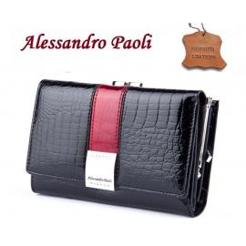 lucido Portafoglio Alessandro Paoli con strass rosso Donna Portamonete in vera pelle 12 Carte Tessere