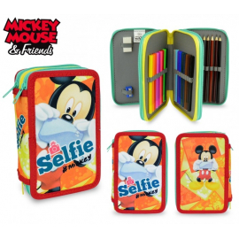 Minnie Selfie Astuccio 3 zip Triplo ,accessoriato scuola