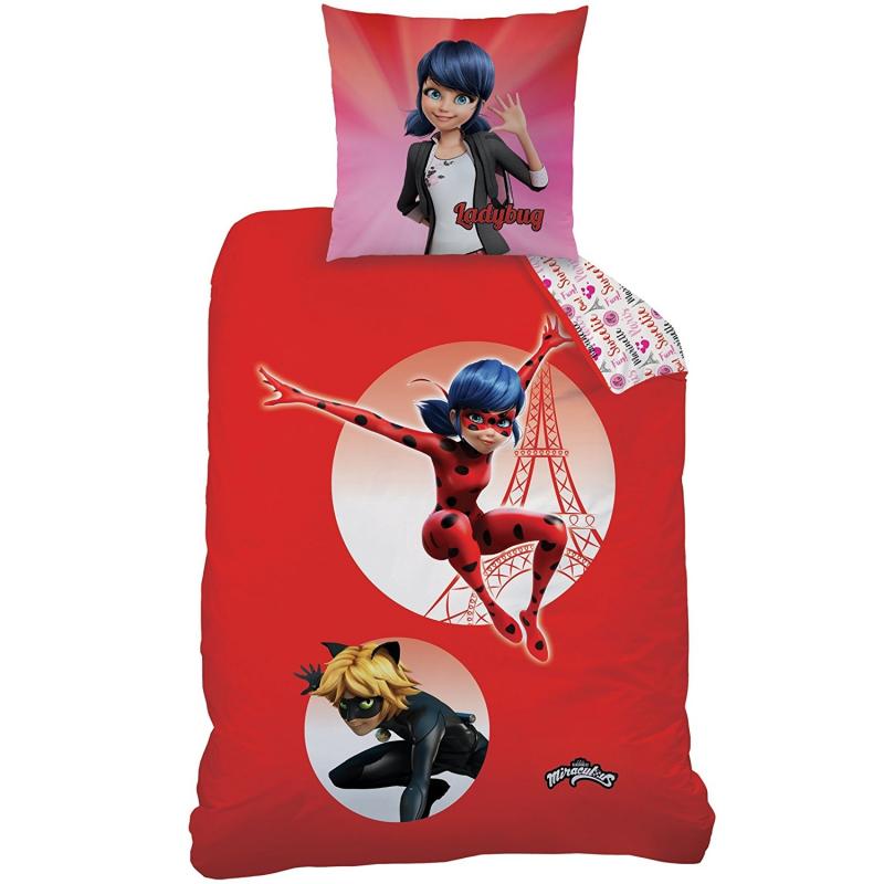 Ladybug miraculous set lenzuola letto singolo copripiumino 140x200cm 100 cotone bambini ragazzi - Lenzuola per bambini letto singolo ...