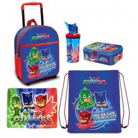 PJ Masks Super Pigiamini Set 5 Pezzi Zainetto Zaino Trolley, Sacca Sport, Set Colazione Merenda Scuola Materna Asilo