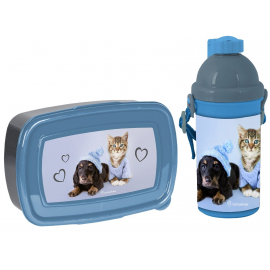 Studio Pets Cane Bulldog Francese Set Box Porta Merenda + Borraccia Automatica Scuola