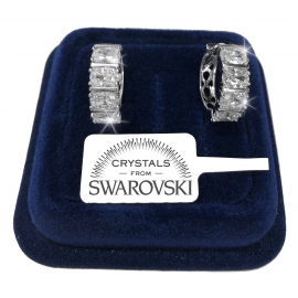 Circles Earrings man woman pl. 18K white gold genuine swarovski crystals SW8 / 1