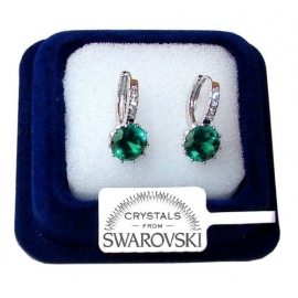 Light Point Earrings woman man pl. 18K white gold Swarovski crystals SW21verde
