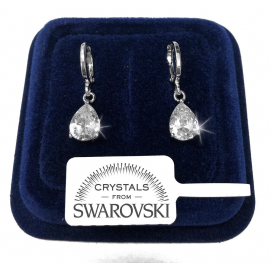 Drop Earrings man woman pl. 18K white gold Swarovski crystals SW7 / 4 White