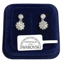 Hanging flowers Earrings woman pl. 18K white gold SW7 swarovski colored crystals
