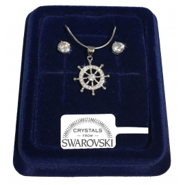Set Necklace Flower Earrings white gold plating 18K real swarovski crystals 8/12