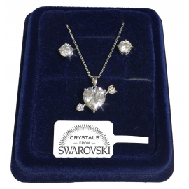 Necklace Set Helm Earrings white gold 18K real swarovski crystals 8/12