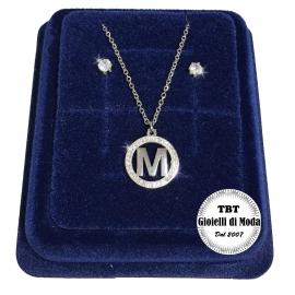 """B"" Fine Necklace Set + Earrings P. light Initial Letter Steel + Box"