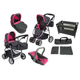 Super Toys Big Pram Stroller and Eggstick for Dolls with Travel cot Black and Dots Multicolor