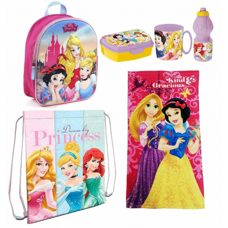 Disney Princesses Pink Schoolbag Backpack in 3D set School kindergarten 6pezzi