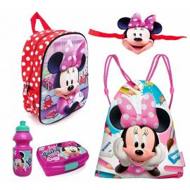Minnie Mouse Disney Duo Reversibile Set 6 pezzi Zainetto Zaino 3D scuola asilo