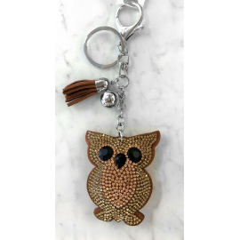 Small Owl Keyring, Soft Pendant for Bag or Backpack Grey