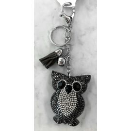 Small Owl Keyring, Soft Pendant for Bag or Backpack Gray