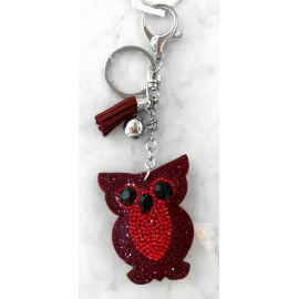 Small Owl Keyring, Soft Pendant for Bag or Backpack Dark red