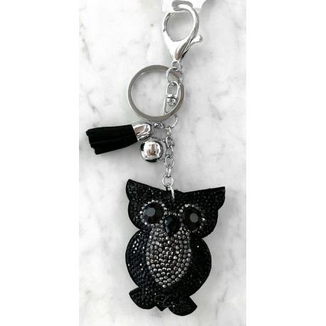Small Owl Keyring, Soft Pendant for Bag or Backpack Black
