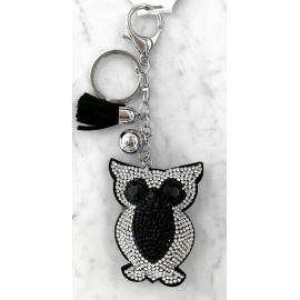 Small Owl Keyring, Soft Pendant for Bag or Backpack Black Silver
