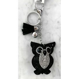 Small Owl Keyring, Soft Pendant for Bag or Backpack Black Silver black