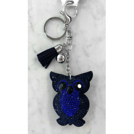 Small Owl Keyring, Soft Pendant for Bag or Backpack Night Blue