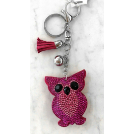 Small Owl Keyring, Soft Pendant for Bag or Backpack Pink