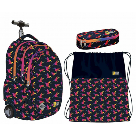 St.Right RAINBOW BIRDS set Trolley Backpack, Case, Sports School Bag Boys
