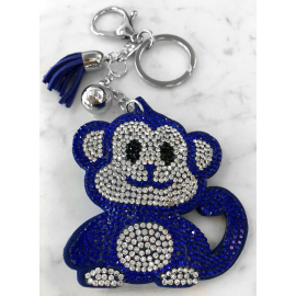 Monkey Monkey Keychain, Soft Pendant for Bag Women's Backpack dark blue
