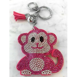 Monkey Monkey Keychain, Soft Pendant for Bag Women's Backpack fucsia