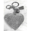 Small Heart 3D Keychain, Soft Pendant Women's Backpack Bag silver