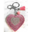 Small Heart 3D Keychain, Soft Pendant Women's Backpack Bag pink