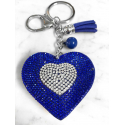 Small Heart 3D Keychain, Soft Pendant Women's Backpack Bag dark blue