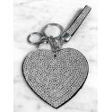 Heart Plate Keychain 3D, Soft Pendant Bag Women's Backpack silver black