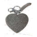 Heart Plate Keychain 3D, Soft Pendant Bag Women's Backpack silver