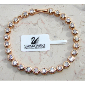 Tennis Bracelet 24k gold woman, bracelet c / White Swarovski Elements