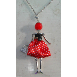 Doll polka dot dress necklace, pearls, Donna, doll, doll necklace, red