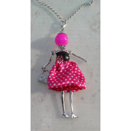 Doll polka dot dress necklace, pearls, Donna, doll, doll necklace, fucsia