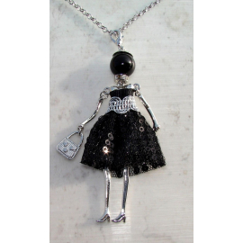 Bambola Collana vestito paillettes,perle,da Donna,bambolina,necklace doll, nero