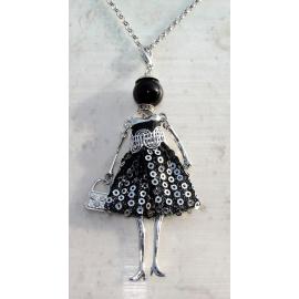 Bambola Collana vestito paillettes,perle,Donna,bambolina,necklace doll,argento