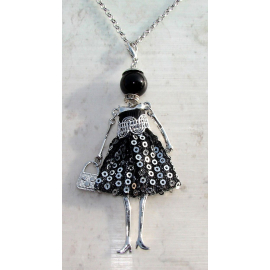 Doll necklace sequined dress, pearls, Donna, doll, doll necklace, white