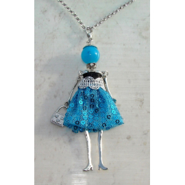 Bambola Collana vestito paillettes,perle,Donna,bambolina,necklace doll,blu celes