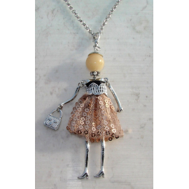Doll necklace sequined dress, pearls, woman, doll, doll necklace, beige