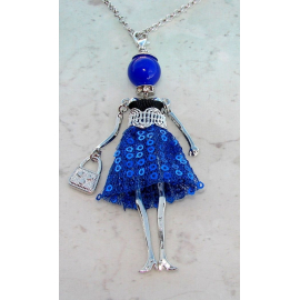 Bambola Collana vestito paillettes,perle,Donna,bambolina,necklace doll,blu