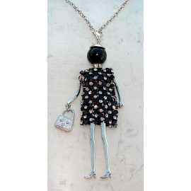 Bambola Collana vestito di strass,perla,Donna,bambolina,necklace doll, nero
