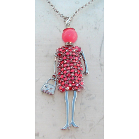 Doll dress rhinestone necklace, pearl, Woman, doll, doll necklace, salmon