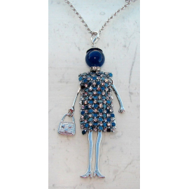 Bambola Collana vestito di strass,perla,Donna,bambolina,necklace doll, salmone