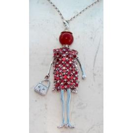 Bambola Collana vestito di strass,perla,Donna,bambolina,necklace doll,rosso