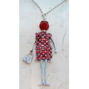 Doll dress rhinestone necklace, pearl, Woman, doll, doll necklace, red