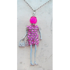 Bambola Collana vestito di strass,perla,Donna,bambolina,necklace doll,ros