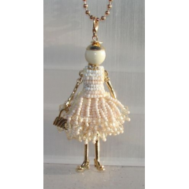 new collection Collana Bambola vestito di perline,necklace doll,da donna bianco
