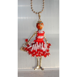 new collection Collana Bambola vestito di perline,necklace doll,da donna rossoBi